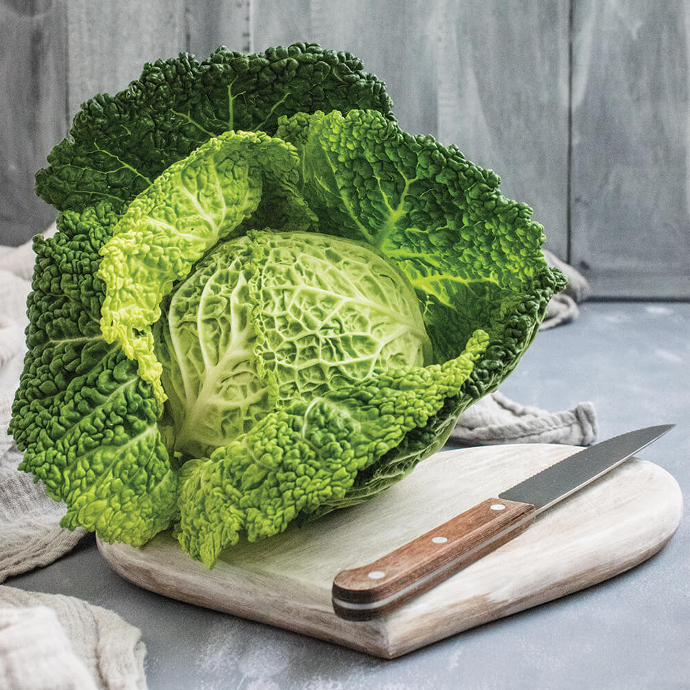 Martin Riendeau Gardens | Zoom in on a cabbage on a cutting board with a knife